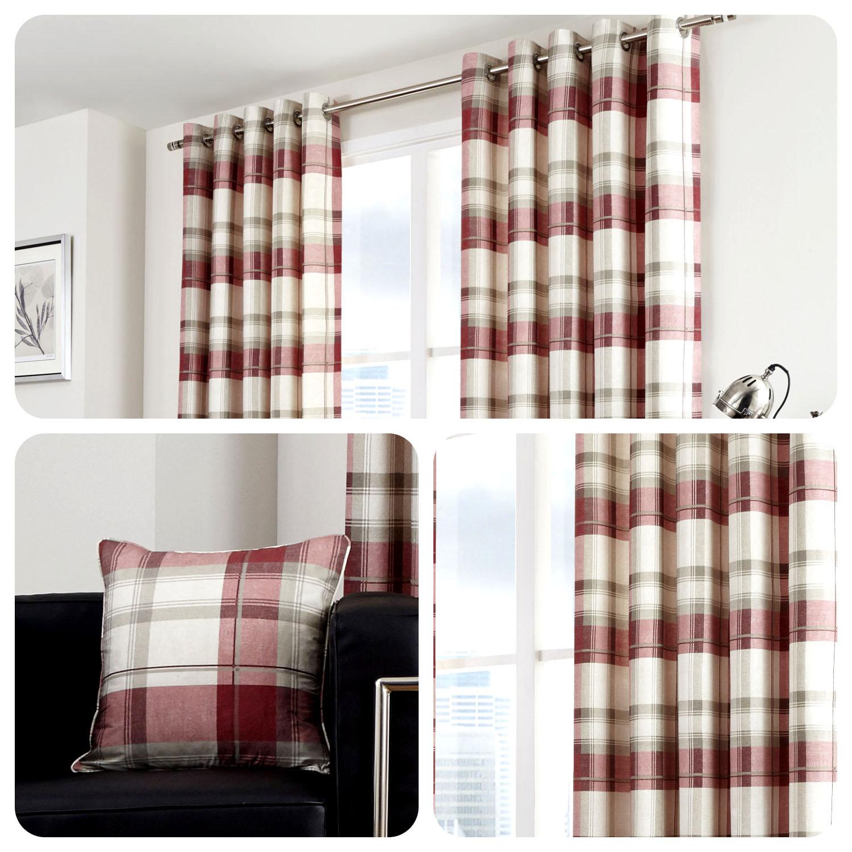 Fusion BALMORAL CHECK Natural Tartan 100/% Cotton Eyelet Curtains /& Cushions
