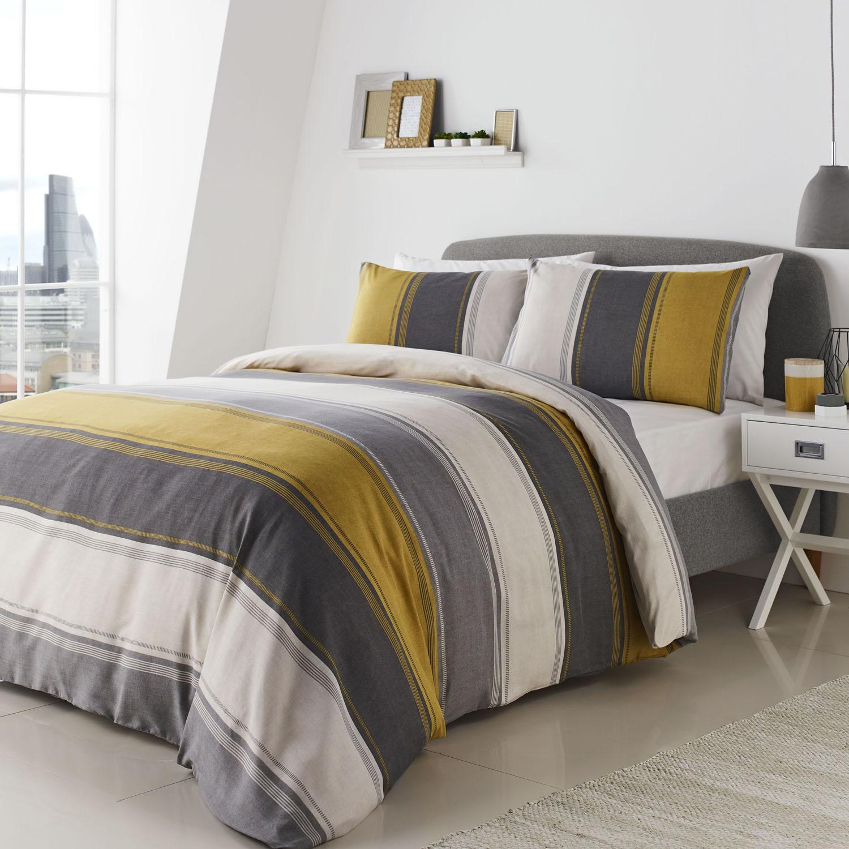 Fusion Betley Yellow Grey White Stripes Duvet Cover Bedding Set Ebay